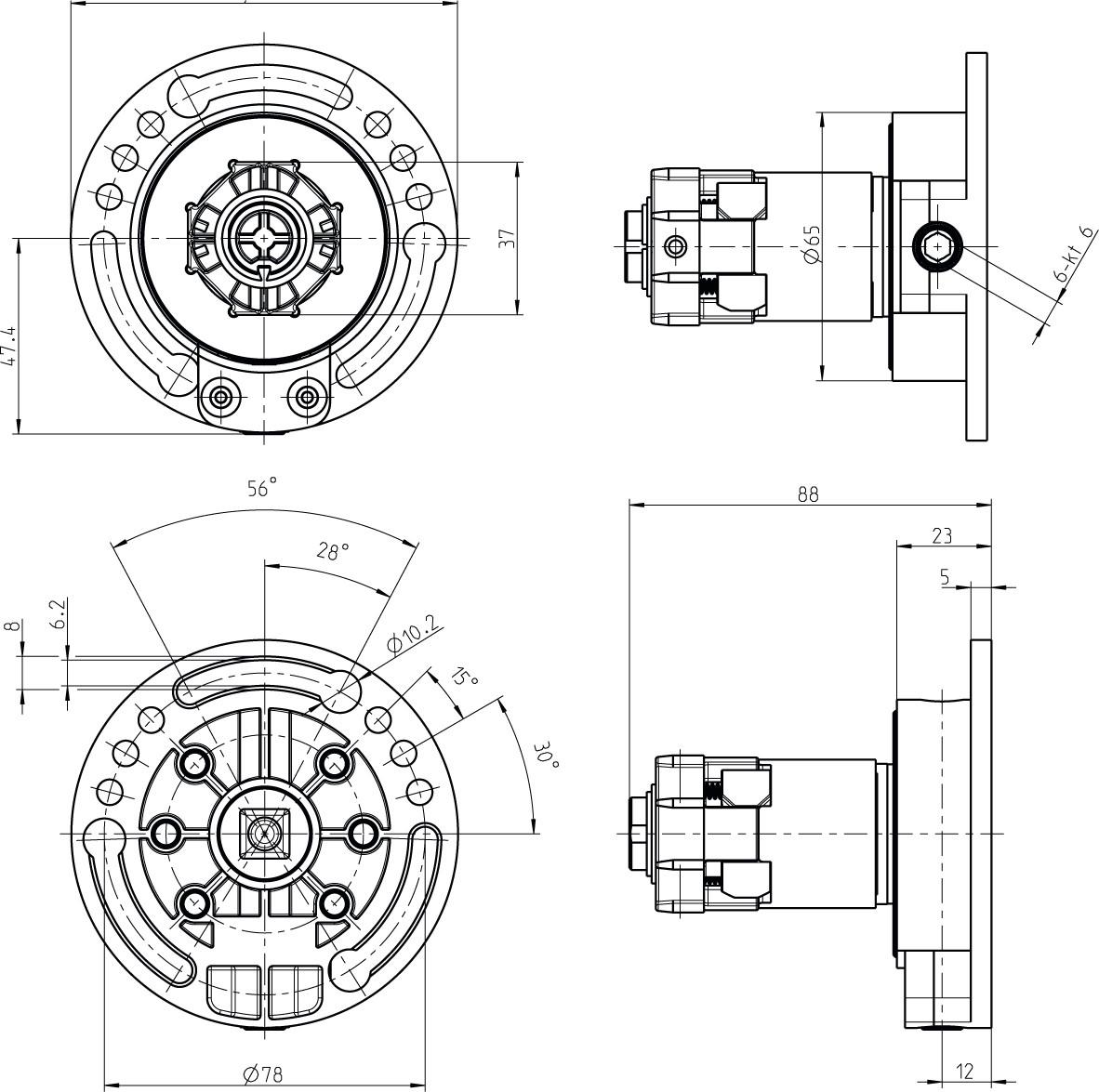 Kegelradgetriebe 4:1 Skizze